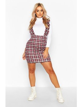 Plus Check Ruffle Pinafore Dress by Boohoo