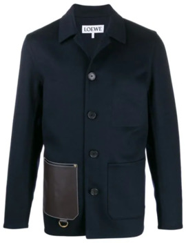 Contrasting Patch Pocket Shirt Jacket by Loewe