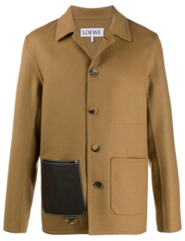 Leather Patch Pocket Button Up Jacket by Loewe