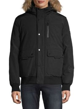 Bomber Parka Jacket With Faux Fur Trim by Calvin Klein