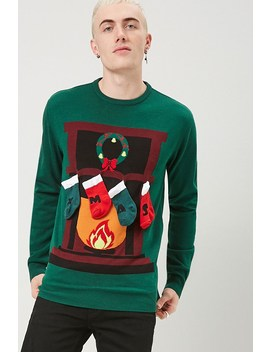 Xmas Fireplace Graphic Sweater by Forever 21