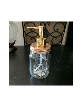 "Soap Dispenser* 7.5"" X 3"" Glass Mason Jar Pump Lid Clear+Copper+Gold Lotion Bathroom Decor by Etsy"