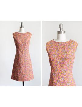 Vintage 1960s Floral Linen Dress, Mid Century 60s Flower Print Dress, Pink, Purple, & Gold Mod Scooter Dress, Medium by Etsy