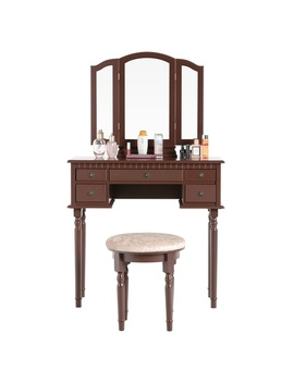 5 Drawers 3 Mirrors Vanity Makeup Dressing Table Set With Stool Wood Desk Brown by Wish