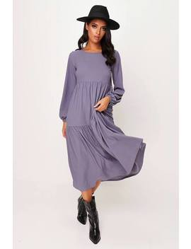 Charcoal Tiered Oversized Smock Midi Dress by I Saw It First
