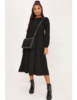 Black Tiered Oversized Smock Midi Dress by I Saw It First