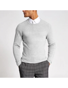 Grey Stitch Panel Slim Fit Jumper by River Island