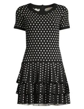 Polka Dot Tiered Hem Sweater Dress by Michael Michael Kors
