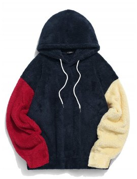Popular Zaful Color Blocking Splicing Fuzzy Pullover Hoodie   Cadetblue Xl by Zaful