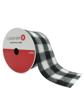 "3.5"" Wired Check Ribbon By Celebrate It® Christmas by Celebrate It"