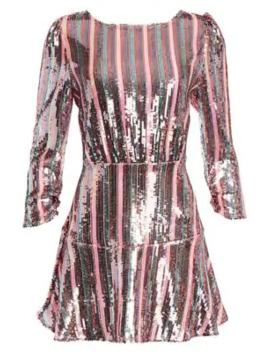 Kyla Sequin Stripe Mini Dress by Rixo