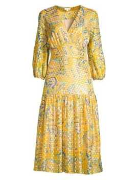 Aceline Metallic Silk Midi Dress by Shoshanna