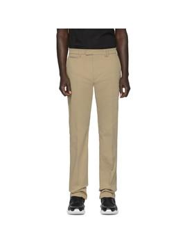 Tan Stretch Chino Trousers by Fendi