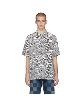 Black & White Silk Logo Short Sleeve Shirt by Alexander Wang