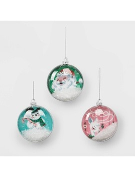 3ct Glass Christmas Ornament Set Santa Snowman And Reindeer   Wondershop™ by Shop This Collection