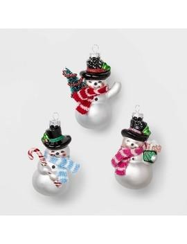 3ct Glass Christmas Ornament Retro Snowmen White   Wondershop™ by Shop This Collection