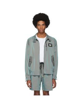 Green Cat Edition Iridescent Nylon Harrington Jacket by John Elliott