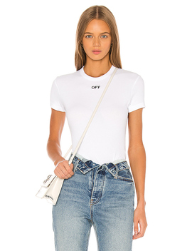 Fitted Tee In White Black by Off White