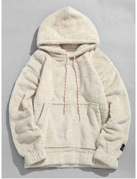 Hot Sale Solid Pouch Pocket Fluffy Hoodie   Warm White S by Zaful