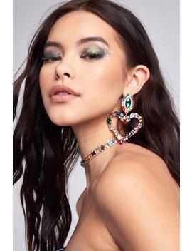 Rainbow Gem Heart Earrings by Jaded London
