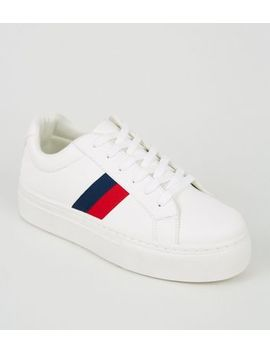 Girls White Leather Look Side Stripe Trainers by New Look
