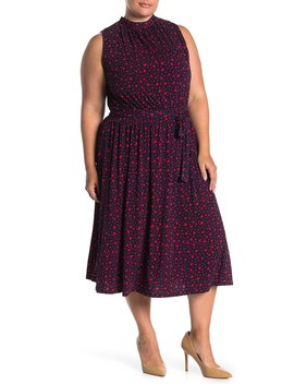 Mindy Shirred Printed Dress (Plus Size) by Leota