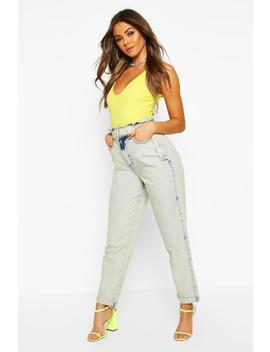 Paperbag Waist Belted Acid Wash Jean by Boohoo
