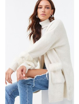 Fuzzy Faux Fur Trim Cardigan by Forever 21