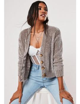 Grey Chenille Horn Button Knitted Cardigan by Missguided