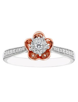 Enchanted Disney Fine Jewelry Womens 1/5 Ct. T.W. Genuine Diamond 10 K Gold Round Promise Ring by Enchanted Fine Jewelry By Disney