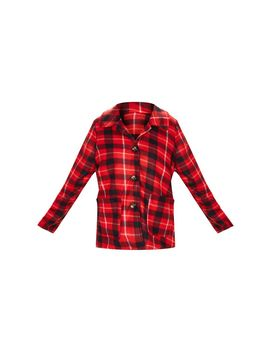 Red Check Print Jacket by Prettylittlething