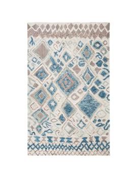 Safavieh Handmade Casablanca Shag Tribal Beige/Navy Wool Rug   5' X 8'   Beige/Navy by Safavieh
