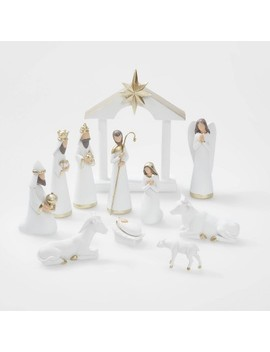 12pc Nativity Set White With Gold Accent   Wondershop™ by Shop This Collection