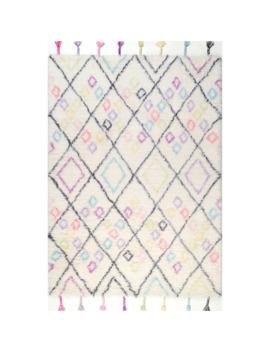 Nu Loom Off White Kids Hand Tufted Trellis Wool Tassel Shag Rug   5' X 7' by Nuloom