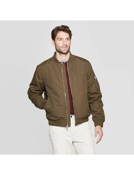 Men's Standard Fit Long Sleeve Midweight Bomber Jacket   Goodfellow & Co™ Olive by Goodfellow & Co
