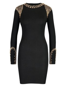 Gold Embellished Shoulder Jumper by Boohoo