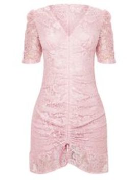 Dusty Pink Lace Ruched Detail Bodycon Dress by Prettylittlething