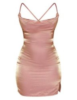 Pink Metallic Cowl Strappy Back Bodycon Dress by Prettylittlething