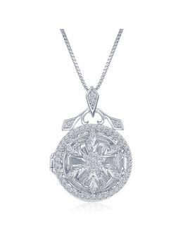 """Enchanted Disney Fine Jewelry 1/4 C.T. T.W. Diamond """"Frozen"""" Snowflake Locket Pendant Necklace In Sterling Silver by Enchanted Fine Jewelry By Disney"""