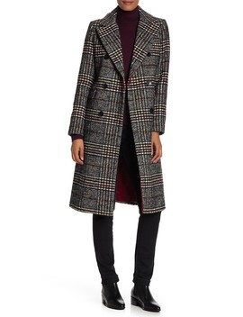 Double Breasted Plaid Print Topper Coat by French Connection