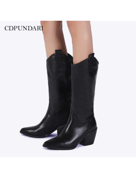 2020 Black White Western Boots Cowboy Boots Women High Heel Boots Ladies Winter Boots Shoes Woman by Ali Express.Com