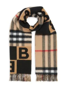 Check & B Motif Wool Cashmere Scarf by Burberry
