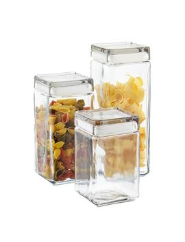 Anchor Hocking Stackable Square Glass Canisters by Container Store