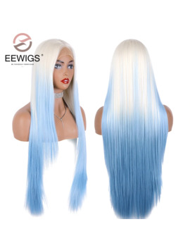 "Eewigs Glueless 28"" Long Straight Synthetic Lace Front Wig Half Hand White Blue Wigs For Women Heat Resistant Layered Hime Cut by Ali Express.Com"