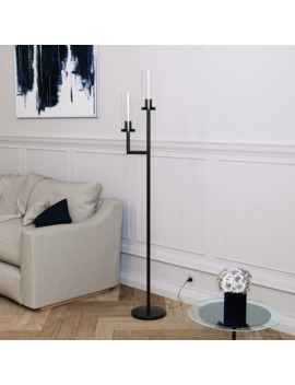 Banta Metal & Glass Floor Lamp With Double Torchiere   N/A by Generic
