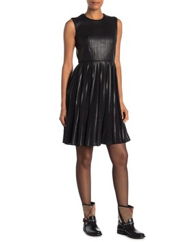 Dominique Leather & Silk Sleeveless Dress by Burberry