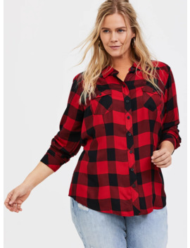 Taylor   Red Plaid Twill Button Front Shirt by Torrid