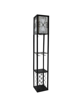 Simple Designs Floor Lamp Etagere Organizer Storage Shelf And Wine Rack With Linen Shade by Generic