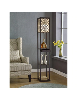 """Artiva Usa Etagere 63"""" Shelf Floor Lamp With Floral Shade Panels And Drawer by Artiva"""