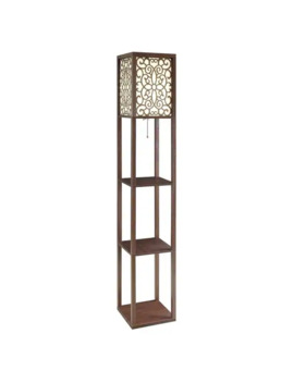 Veritas Traditional Cappuccino Wood Floor Lamp And Shelving Unit by Generic